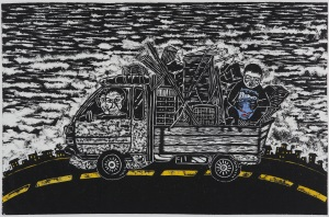 Do Hyun Kim, Lost in the City, Printmaking Grade 12, Age 18, Wow Art Studio, New York, NY