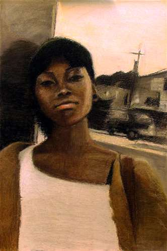 Self Portrait by Christine Abraham, 2015 Gold Key, Drawing & Illustration, 12th Grade, High School of Art & Design