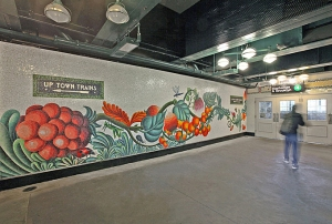 Community Garden by Andrea Dezso is a permanent public mural decorating the 4 Train's Bedford Park Blvd station in the Bronx